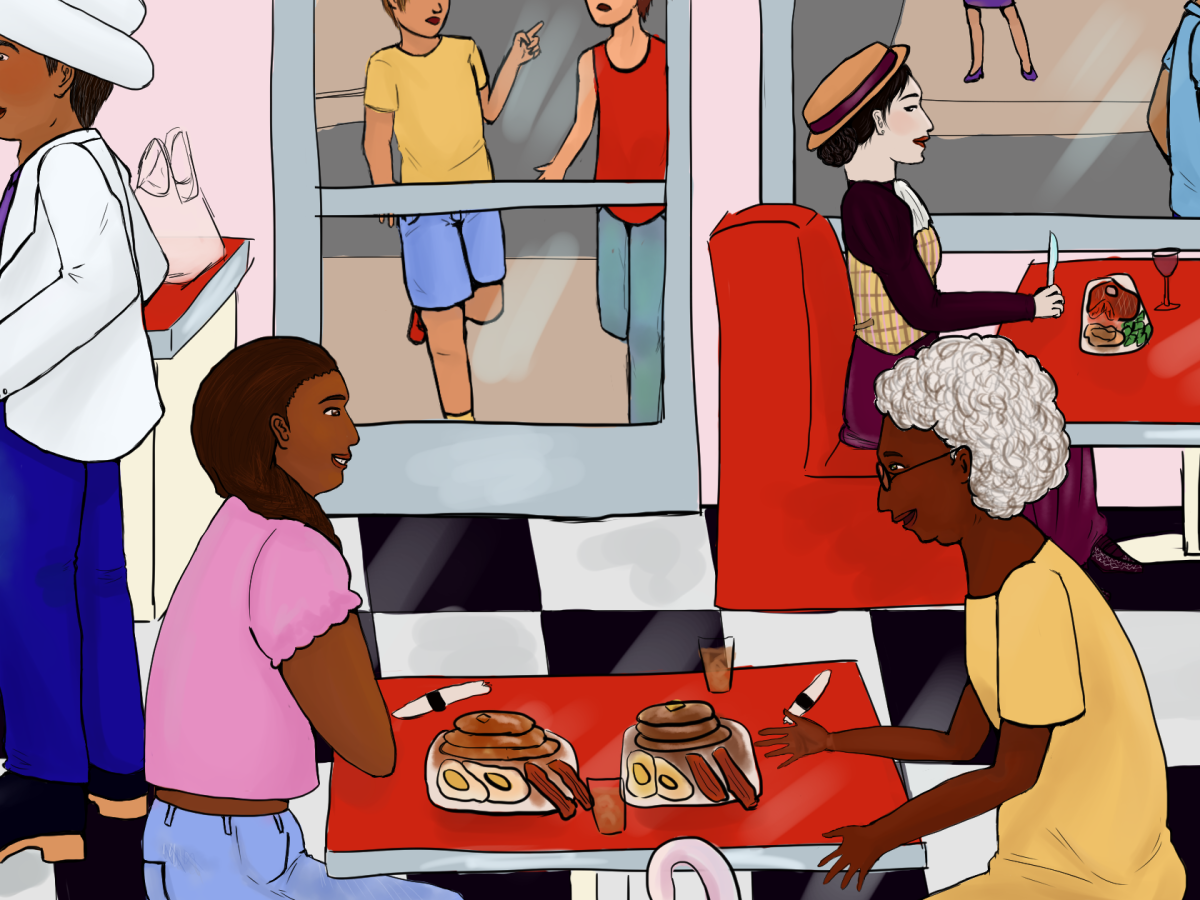 A girl and her Grandmother sit in a diner, surrounded by a banshee, a mayor werewolf, a vampire, elves, and faeries