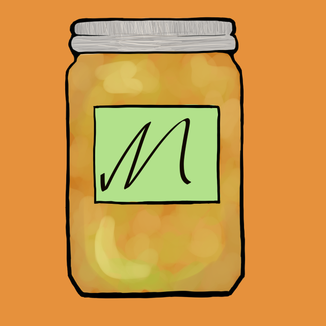 Orange Mason Jar with an M label, and Pineapple Jam, used for JAAM icons