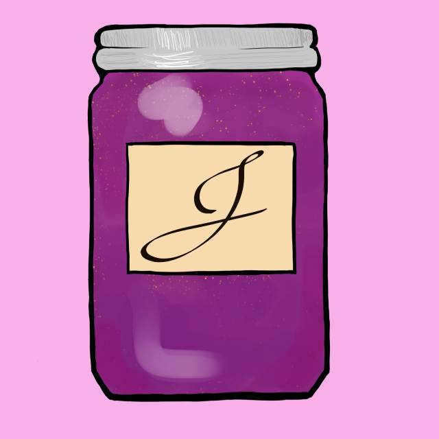 Purple and Pink Mason Jar with J label and Raspberry Jam, used for JAAM icons